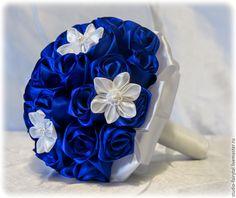 Купить Букет невесты синий - разноцветный, синий, букет, букет невесты, букет на свадьбу, основа