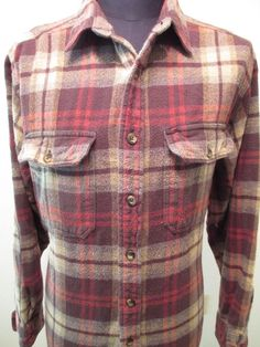 Woolrich Shirt Men Size L Plaid Flannel Heavy Cotton Lumberjack Hunting Buffalo #Woolrich #ButtonFront