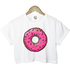 PINK DONUT crop T SHIRT top sweet candy retro hipster swag dope yolo... (17.595 CLP) ❤ liked on Polyvore featuring tops, t-shirts, shirts, crop tops, t shirts, hipster t shirts, white tee, cotton t shirt and white cotton shirt