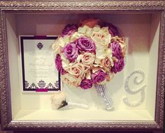 Shadow Box - dried bridal/bm bouquet, hubby's boutonniere, cake topper and our invitation