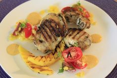 Chargrilled chicken, mangos and chilli mayonnaise