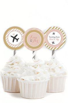 INSTANT Travel Bridal Shower Cupcake Toppers, Blush and Gold Cupcake Toppers, Love Is In The Air, Traveling From Miss To Mrs, #31