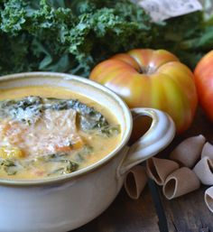 Rustic Kale and Tomato Soup - This creamy soup with tomatoes, kale and pasta is delicious and leftovers work great for lunch.