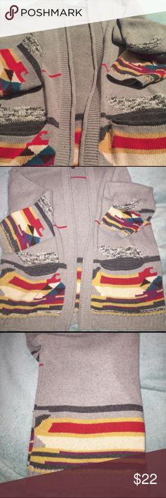 "FATE. M Gray tribal open Cardigan Fun tribal inspired Cardigan sweater made of 100% polyester.  I've worn it a few times but I'm 5'10"" with long arms and they're just a little too short for me but the length of the cardi is great in general.  Some minor thread pulls can easily be pulled back in. FATE. Sweaters Cardigans"