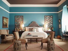 3. UP THE COLOR: Don't just think side to side; consider adding color up — on the ceiling! In this bedroom, a dark brown was chosen for the ceiling, and it really helps the crown molding stand out.  Darker colors on the ceiling create a warm and cozy feel perfect for a bedroom..