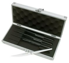 Wusthof 4-Piece Stainless-Steel Steak Knife Set with Storage Box by Wusthof. $59.95. 18/10 polished stainless-steel handles are well balanced. Four comtemporary steak knives in brushed metal storage box. Covered by a lifetime warranty. 4-1/2-inch serrated blades of high-carbon 18/10 stainless steel for strength and longer edge retention. Stain- resistant blades ensure precision slicing. Amazon.com                Packed in an attractive hard brushed-aluminum case, t...