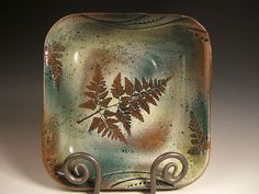 green leaf square stoneware bowl with Rabbitfoot by PotsbydePerrot, $55.00