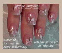 Nail-art by Robin Moses: wedding nails, white butterfly nail, butterfly nails, mac eyeshadow nails, mac reflects pearl, bride and groom nail, cute wedding nail, easy wedding nails, fun wedding nails, elegant wedding nails, wedding nail ideas, robin moses wedding, natural wedding nails,