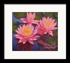 Framing suggestion for Water Lilies 3 Framed Print from an original oil painting by Fiona Craig