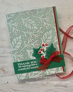 Christmas Thank You, Diy Christmas Cards, Stampin Up Christmas, Holiday Cards, Christmas Poinsettia, Christmas Colors, Xmas, Leaf Cards, Specialty Paper