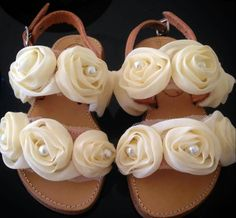 Handmade real leather sandals with flower and pearls for baby!