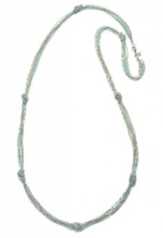 Pale Blue and Silver Knotted Layering Necklace  www.Capwell.co