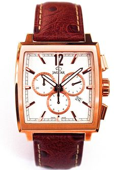 Jaguar Swiss Made. Very attractive and unique square chronograph with beautiful dial discounted. Vacheron Constantin, Patek Philippe, Watch Brands, Seiko, Emporio Armani, Jaguar, Chronograph, Rolex, Watches