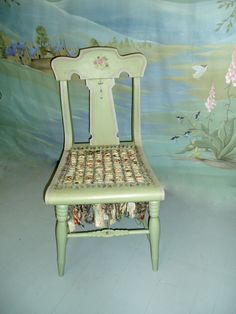 Hand Painted Furniture by Kate Gillery at Briar Cottage Studio http://briarcottagestudio.blogspot.com/ Hand painted and strung fabrics in cane work