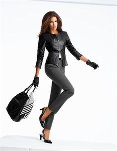 Кожаная куртка ягненка наппа, босоножки с орнаментом, большую кожаную сумку, горошек брюки, дамы кожаные перчатки