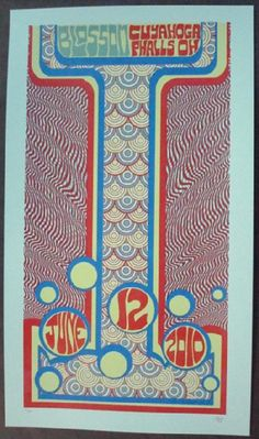 Original silkscreen concert poster Phish in Ohio in 2010. 15 x 21 inches. It is printed on Watercolor Paper with Acrylic Inks. The poster is signed and numbered out of only 100 by the artist Tripp.