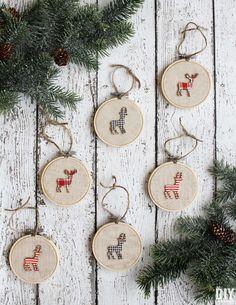Deer Embroidery Hoop Ornaments #christmas
