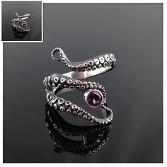 Retail Tentacle Ring Octopus Ring Seductive Tentacle Ring in ancient silver Plating purple Rhinestone by Octopus adjustable size