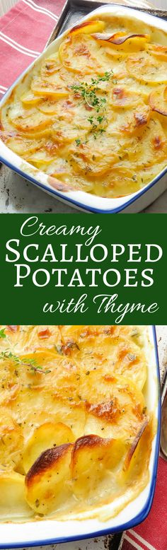 This easy side dish is always the hit of any dinner! Creamy Scalloped Potatoes with Thyme is great with roast or grilled meats. #potatoes #sidedish #scallopedpotatoes #bechamel #thyme #homemadescallopedpotatoes #dinnerpartyideas #potatocasserole #bakedpotatoes #entertaining #dinnerparty #dinnerideas #bestscallopedpotatoes #bestpotatoes #bestpotatorecipe #vegetarianpotatoes #scallopedpotatoesfromscratch