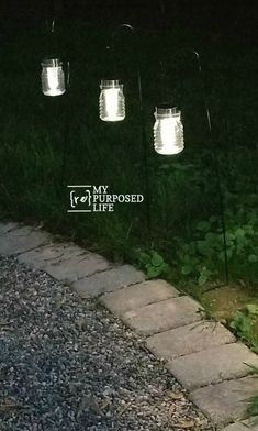 Hanging solar lights small lanterns easy project to make for your own backyard... Eat for a wedding or outdoor event! Small Solar Lights, Backyard Solar Lights, Backyard Lighting, Outdoor Lighting, Lighting Ideas, Solar Hanging Lanterns, Small Lanterns, Lanterns Decor, Ideas Lanterns