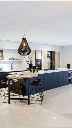 70 Wonderful Save Space With Modern Kitchen Ideas 14 - onlyhomely Kitchen Room Design, Kitchen Cabinet Design, Home Decor Kitchen, Interior Design Kitchen, Kitchen Furniture, Home Kitchens, Space Kitchen, Kitchen Ideas, Kitchen Trends