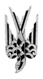 Black enamel Deco style swallow brooch with diamonds