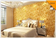High-End 10M Luxury European Style Embossed Textured Wallpaper Rolls Bedroom -- BuyinCoins.com