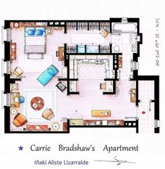 """This is a house-plan based in the apartment of Carrie Bradshaw from the TV show """"Sex & the City"""" (Not the movie). It's an original hand drawed pla. Carrie Bradshaw apartment from Sex and The City Apartamento Carrie Bradshaw, Carrie Bradshaw Apartment, The Plan, How To Plan, Apartment Floor Plans, House Floor Plans, Floor Plan Sketch, Casas The Sims 4, Apartment Layout"""