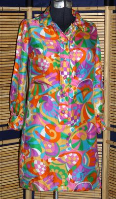 Vintage 1960s GoGo Pop OP ART Psychedelic Mod Hippie Boho Trippy Silk MINI Shirt Dress by VintageRoyalTreasure on Etsy
