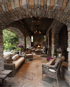 rustic outdoor patio ... love that fireplace. #outdoorspaces #outdoorfireplace www.HomeChannelTV.com