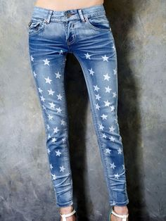 Skinny Jeans With Stars Pattern