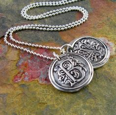 Wax Seal Initial Necklace Silver Wax Seal by newhopebeading