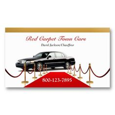 Elegant Red Carpet, Transportation, Town Car, Limo Business Card. It's two-sided with no additional charge, and totally customizable!