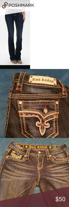 Awesome ROCK REVIVAL blue jean size 26 Rock Revival Betty. Preowner excellent condition.  Inseam 28 Length aproximality 34. Rock Revival Jeans Boot Cut