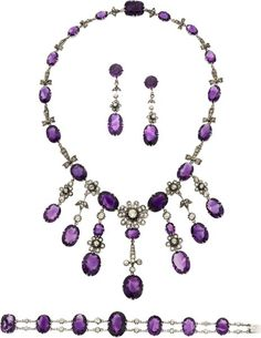 Estate Jewelry:Suites, Art Deco Amethyst, Diamond, White Gold Jewelry Suite. ...