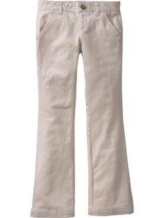 Estos son caquis chica que te pones en la escuela. Se hicieron Estos pantalones blancos para estirarse y estar cómodo. Estos pantalones parecen ser muy cómodo y popular con las chicas de mi escuela.