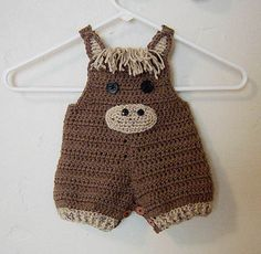Crochet pattern cost $5.50, horse overalls.  So so cute! This pattern includes 4 sizes: 0– 3 months 3 - 6 months 6 - 12 months 12 -18 months