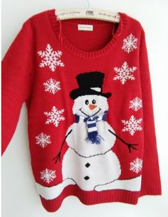 New-arriving Women's Ugly Christmas Sweaters Fluffy Snowman Wearing Scarf and Sequin Hat Pullovers