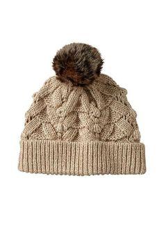 Faux fur pom-pom cozy knit hat.