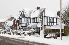 A snow-blanketed pub in Pagham, West Sussex, England, on Jan. 18, 2013. CREDIT: England snow image via Shutterstock