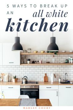 White kitchen cabinets never go out of style, but what happens when its too much white? Do you love white cabinets and want to experiment with color? Mixing upper and lower cabinet colors is a popular trend that has staying power. Tap to read our best design tips and white kitchen ideas to break up the white with a pop of color, a bold countertop, prints, gold or flashy kitchen cabinet hardware, and more. Hadley Court Interior Design Blog.