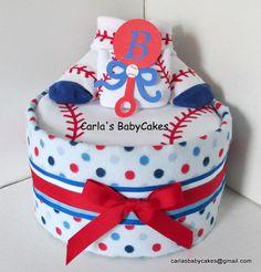 Baseball theme Diaper Cake  Boy Blue Diaper by MsCarlasBabyCakes, $33.00
