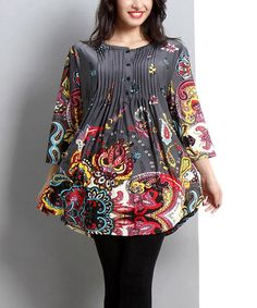 Look at this #zulilyfind! Charcoal Floral Paisley Notch Neck Tunic - Plus #zulilyfinds