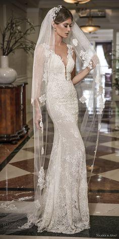 naama and anat 2018 bridal thick lace strap deep plunging sweetheart neckline full embellishment elegant sheath wedding dress open low back sweep train (libertas) mv  -- Naama