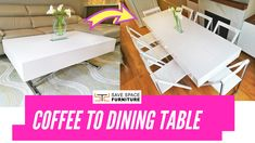 Turn coffee into a dining table (white gloss)The perfect solution for small spaces! This unique table is a two-in-one coffee and dining table that can accommodate up to 8 people. With the sturdy gas mechanism Folding Furniture, Space Saving Furniture, Furniture For Small Spaces, Home Decor Furniture, Cool Furniture, Dining Furniture, Furniture Legs, Furniture Makeover, Office Furniture