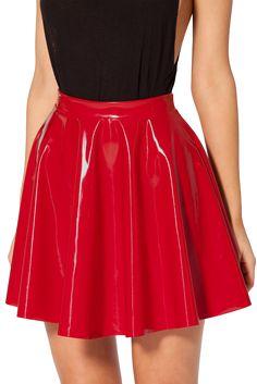 PVC Red Skater Skirt Pvc Skirt, Dress Skirt, Pretty Outfits, Cute Outfits, Pretty Clothes, Red Skater Skirt, Mode Latex, Vinyl Skirting, Black Milk Clothing