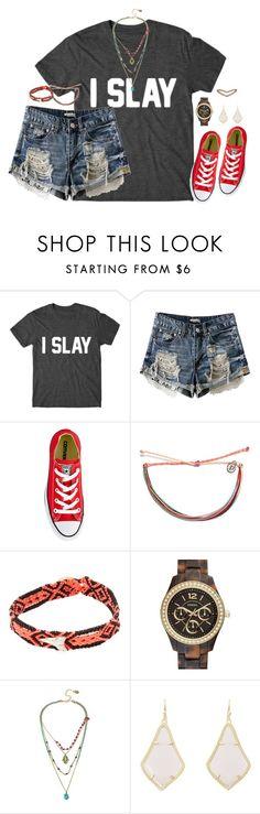 """i slay"" by kaley-ii ❤ liked on Polyvore featuring Converse, Pura Vida, Dezso by Sara Beltrán, FOSSIL, Betsey Johnson, Kendra Scott and Eva Fehren"