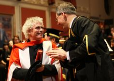 Academy Alumnus Sir Simon Rattle with the Principal after receiving Honorary Doctorate of the University of London © Royal Academy of Music, March 2011