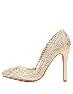 Rhinestone-Studded Pointed Toe Pumps