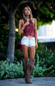 look_StyleLullaby - Autumn Trails - Taupe - Boots - Knee High Boots - Fringe - Lola Shoetique - Embroidered Tank - Tank Top - Tank - Tee - Mid Rise Bleached Destructed Shorts - Distressed Shorts - DSTLD - Gemma Perforated Crossbody Wine - Crossbody Bag - Elle Jay - Neverending Necklace - Bangles - Trollbeads